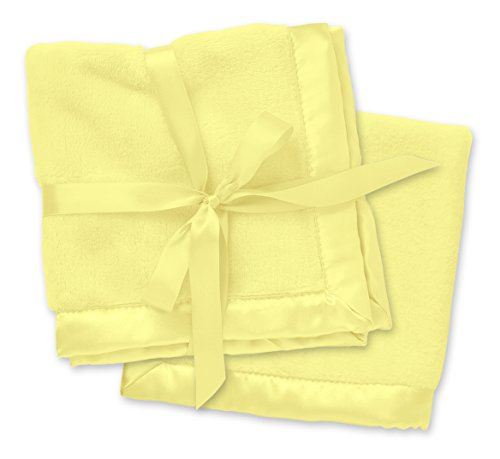 (2 Yellow Security Blankets, Baby Blankie Small Mini Blanket, 15 Inches x 15 Inches, Set of 2, Satin Trim, 2 Pack)