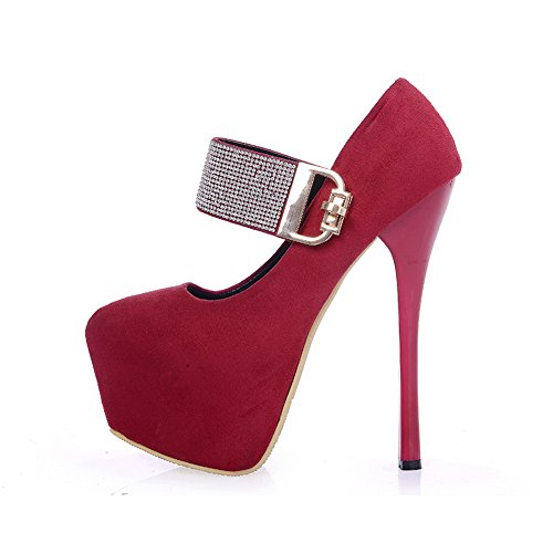 Toe Pumps Suede Heels Shoes Round Red Womens Imitated Closed High buckle Solid AmoonyFashion BRFfqYxWvn