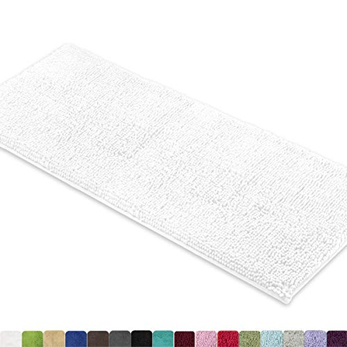 MAYSHINE Bath mat Runners for Bathroom Rugs,Long Floor mats,Extra Soft, Absorbent, Thickening Shaggy Microfiber,Machine-Washable, Perfect for Doormats,Tub, Shower(27.5X47 inch White)]()