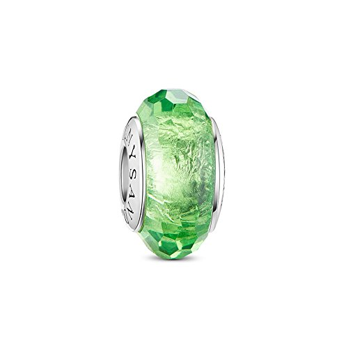 TINYSAND 925 Sterling Silver Czech Crystal Fascinating Facet Peridot Glass Charms Beads Spacers August Birthstone Solid Core Charm Fit All Bracelets