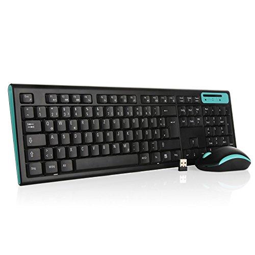 Jelly Comb MK09 Full-Size Ergonomische Kabellose Deutsche Tastatur und Maus / Wireless Combo Tastatur und Maus (QWERTZ, deutsches layout) für Windows / iOS / Android, Blau und Schwarz
