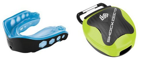 Shockdoctor Gel Max Convertible Mouthguard w Lime Case - Blue/Black - Youth