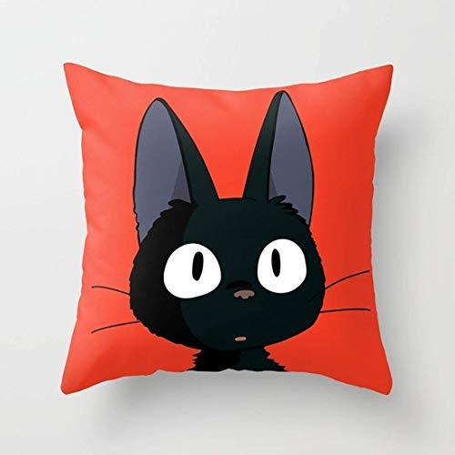Hsdfnmnsv Pillowcase Cushion Cover Black Cat Jiji - Happy Halloween! Art Home Decor Sofa Throw Pillow Cover18 X18 -