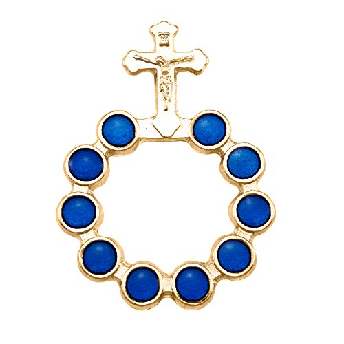 (Gold Finish Decade Rosary with Blue Beads)
