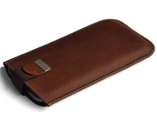 pretty nice 6c7ce dec53 iPhone 6 Plus Real Natural Genuine Leather Cover Soft Sleeve Magnetic Band  Pouch Protective Shell Padded and Lined Inside