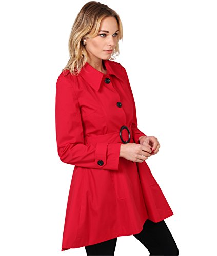 Tailored Trench Coat Single Breasted Mac Jacket(FBA3091-RED-14.1) (Mac Coat)