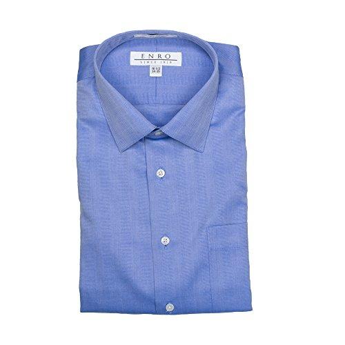 Herringbone Stripe Dress Shirt (Enro Non-Iron Spread Collar Tonal Herringbone Stripe Dress Shirt (16 32/33, Blue))