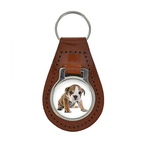 English Bulldog PUPPY Image Keyring Gift Boxed - TAN BROWN LEATHER
