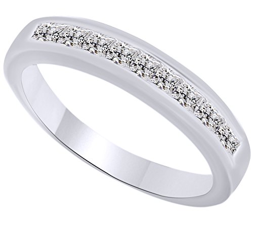 Princess Cut White Natural Diamond Half Eternity Ring In 10k Solid White Gold (0.5 Cttw) Ring Size - 7 -