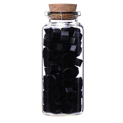 Ocharzy Bottled Multi-Color Manuscript Sealing Seal Wax Particles Tablets for Envelope Letter (Black)