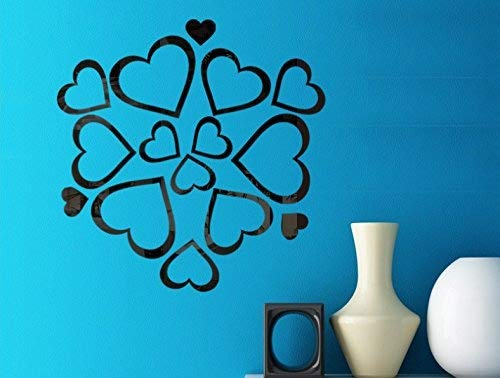 - Revesun Black New Mirror Wall Stickers Wholesale Love Lens Decorative Stickers Foreign Trade Acrylic Manufacturers Combination Stickers