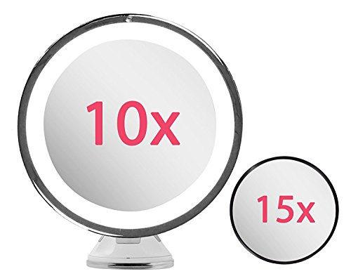 Lighted Makeup Mirror 10X Magnifying with True Daylight LED - Mount or Table Top - Touch + Dim - Cordless Home or Travel Vanity Bathroom Set w/ Bonus 15X Magnification Mirror & Microfiber Cloth