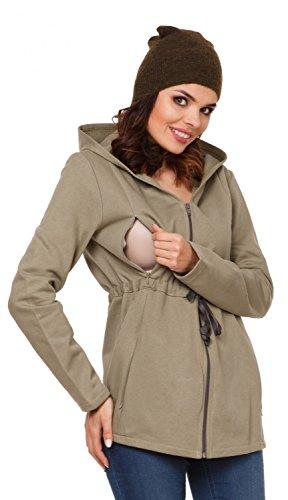 Zeta Ville - Womens Maternity Nursing Hooded Sweatshirt Removable Panel - 039c (Olive, US 6/8, M)