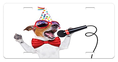 Popstar Party License Plate by Ambesonne, Jack Russel Dog with Sunglasses Party Hat and Bowtie Singing Birthday Song, High Gloss Aluminum Novelty Plate, 5.88 L X 11.88 W Inches, - Sunglasses Song