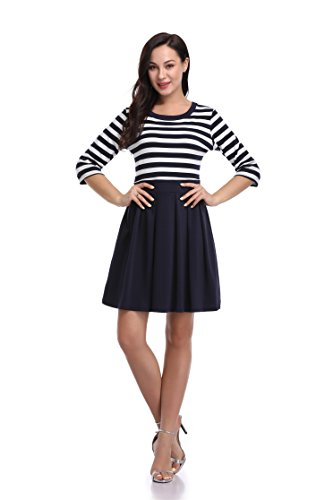 Argstar Women's EURO-Preppy 3/4 Sleeve Stripe Color Block T Shirt Dress Blue/White XS