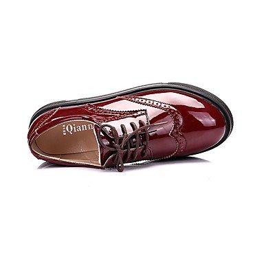 Rojo Cuero Mujer Cordón Con 2'5 formales cms Zapatos Tacón Patentado Negro 4'5 Oxford Otoño Cuña Casual Heart Primavera amp;M black qC0RZ