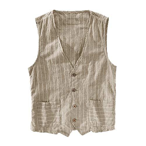 iZHH Summer Men's Vest Casual Fashion Wild Striped Tank Top Jacket Top Blouse Khaki
