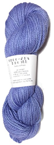Hand Dyed Baby Alpaca Yarn, Kettle Dyed: Periwinkle, Dk Weight, 80 Grams, 200 Yards, 100% Baby ()
