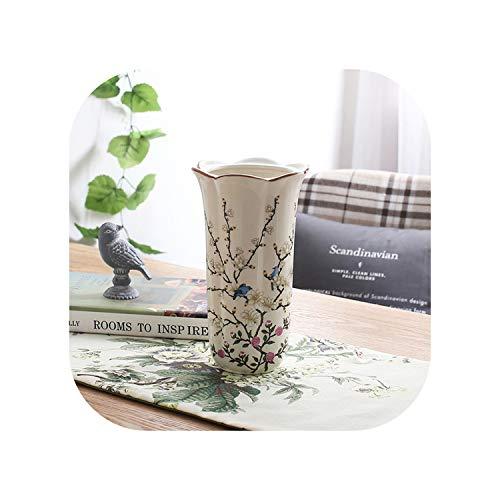 (Europe Pastoral Bird Butterfly Porcelain Vase British Rural Ceramic Flower Vase Room Hallway Home Garden Wedding Decoration,Modelf Blue Bird)