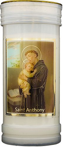 Saint Anthony Pillar Candle withゴールド箔ハイライト&ルルドPrayerカード B073QV6J8P