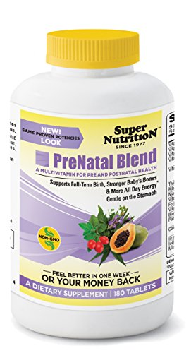 SuperNutrition Prenatal and Maternity Health Blend Multivitamin, 180 (Bio Vegetarian 180 Tabs)