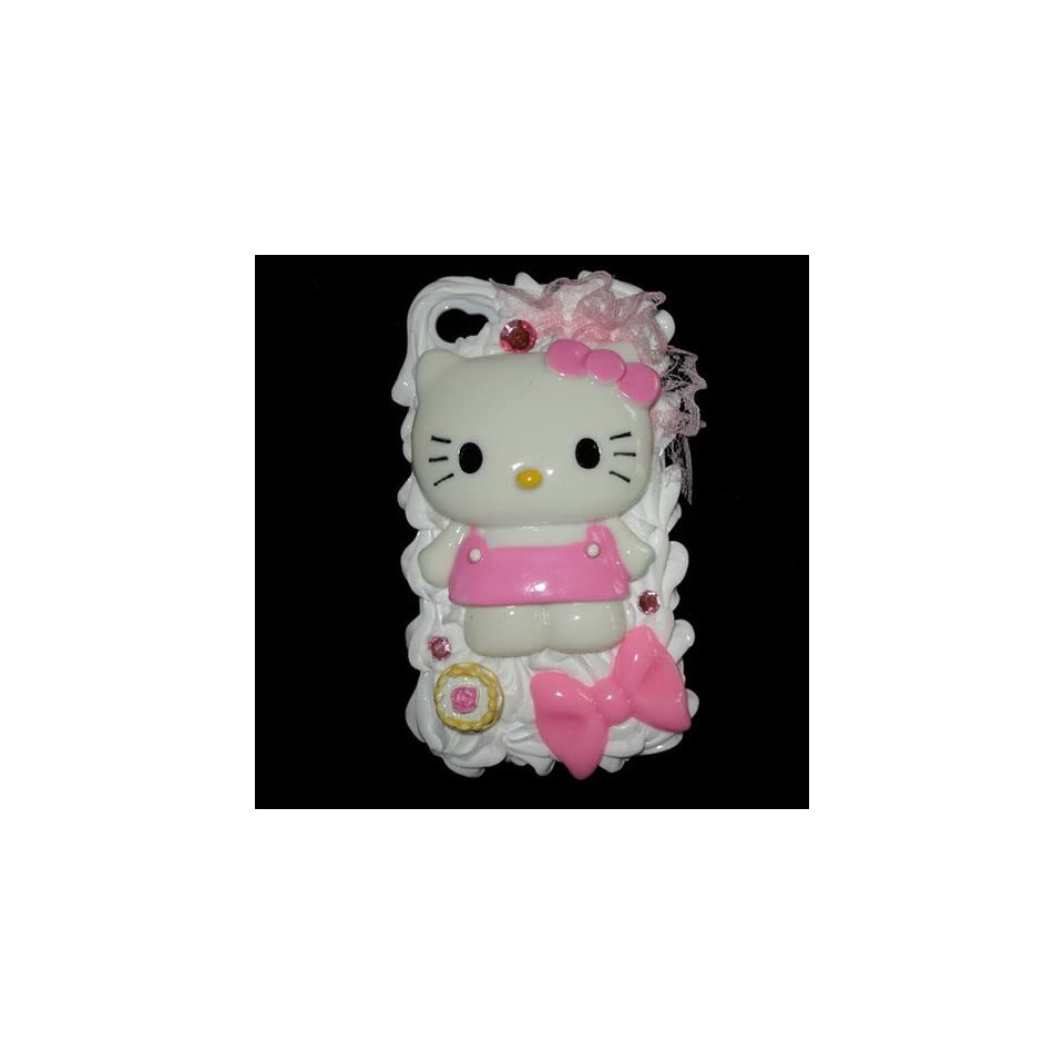 Pink Hello Kitty 3d Cake Ice Cream Hard Back Cover Case Skin for Iphone 4 4s + Free Protective Film