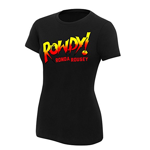 WWE Ronda Rousey Rowdy Ronda Rousey Women's Black Authentic T-Shirt Black Large by WWE Authentic Wear