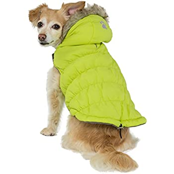 Friends Forever Green Quilted Vest Cozy Waterproof Windproof Winter Jacket Coat Sweater Hoodie Furry Collar Citron Harness Pet Puppy Dog Christmas Clothes Costume Outwear Coat Apparel Cat (Small)
