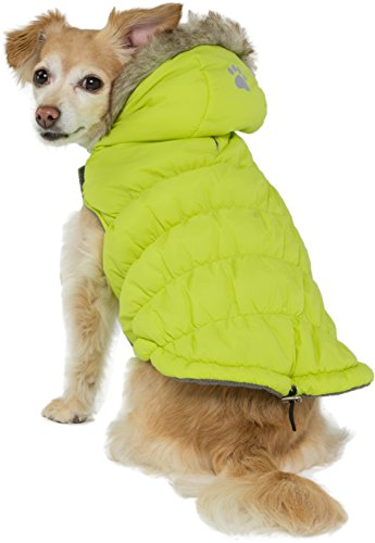 Friends Forever Green Quilted Vest Cozy Waterproof Windproof Winter Jacket Coat Sweater Hoodie Furry Collar Citron Harness Pet Puppy Dog Christmas Clothes Costume Outwear Coat Apparel Cat (Medium)