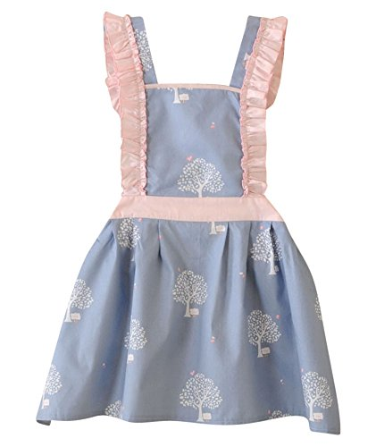 CRB Fashion Kids Cooking Baking Apron | Toddler, Little Girls, Cute Kitchen Chef Aprons (2 to 5 Years Old, Tree Blue) (Girls Apron)