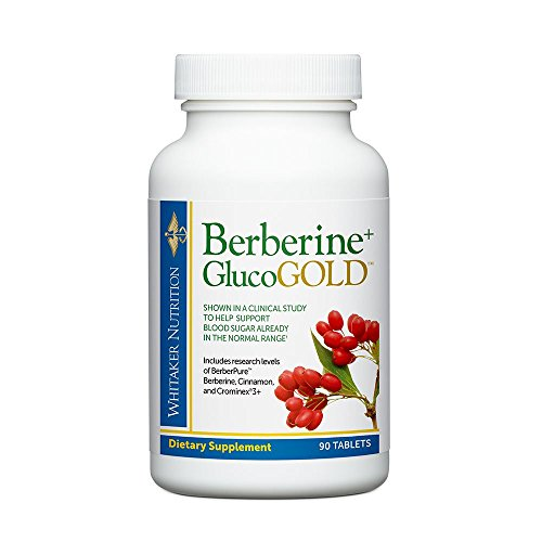 Dr. Whitaker's Berberine+ GlucoGold Supplement for Clinically Validated Blood Sugar and Cholesterol Support with Berberine, Crominex 3+ Chromium, and Cinnamon (90 Tablets)