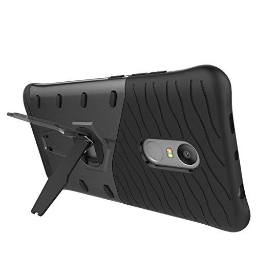 Resistente a los golpes 360 grados de fricción francotirador caso híbrido TPU + PC combinación de la caja con el titular de Xiaomi Redmi Nota 4 / 4X by diebelleu ( Color : Gold ) Black