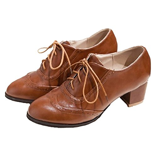 Nonbrand Women's Heel Oxfords Brown HQQNFJ4o