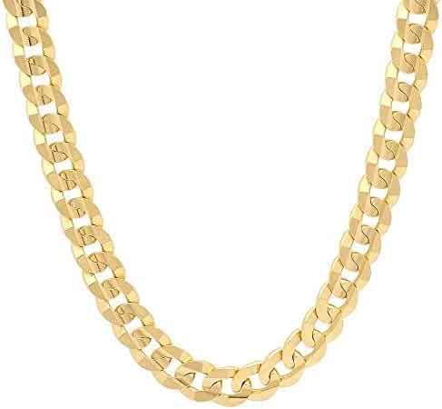 18K Solid Yellow Gold Heavyweight 7.0mm Thick Cuban Curb Link Chain Necklace- Italian Design- 18 Karat