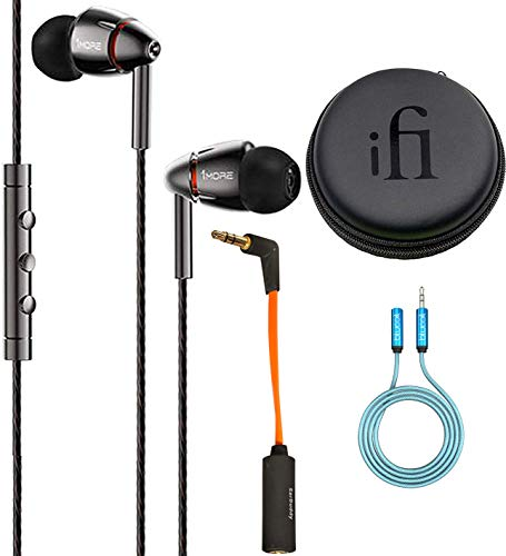 1MORE E1010 Quad Driver in-Ear Headphones Bundled with iFi Ear Buddy Attenuator Cable for Headphone, Blucoil 6 ft Audio Premium Headphone 3.5mm Extension Cable and Portable Earphone Hard ()