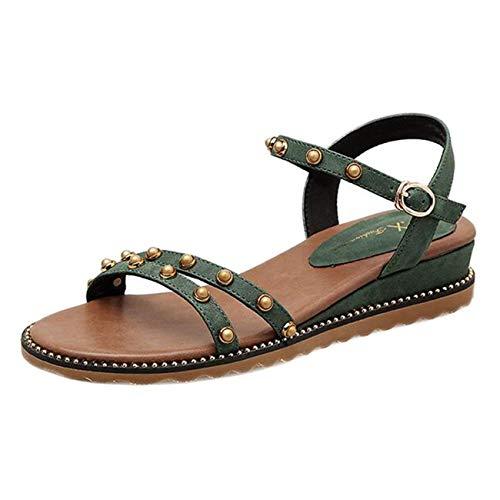 In colore Verde Sandali Con Dimensione Uk E Eeayyygch Tacco 3 Fibbia Zeppa Verde Pelle Atqzf