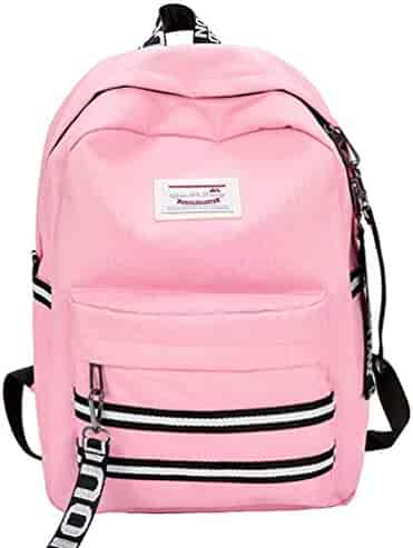 65fd0d214bcd Canvas School Backpack Rucksack College Backpack For Girls   Women With Laptop  Compartment Pink