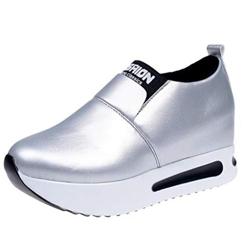 Platforms Leather Lambskin (JOYBI Women Casual Flats Walking Sneakers Non Slip Comfortable PU Leather Fashion Platform Loafers Shoes Silver)