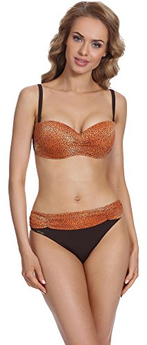 Antie Bikini Conjunto para mujer Miami S Naranja/Marrón