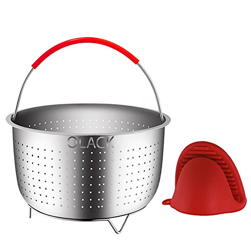 Stainless Steel Food Steamer Basket: Instant Pot Accessory Insert with Handle for Steam Cooking Vegetables and Eggs - Fits 6 Quart or 8 Quart Pressure Cooker - Includes Silicone Heat Protectant Glove