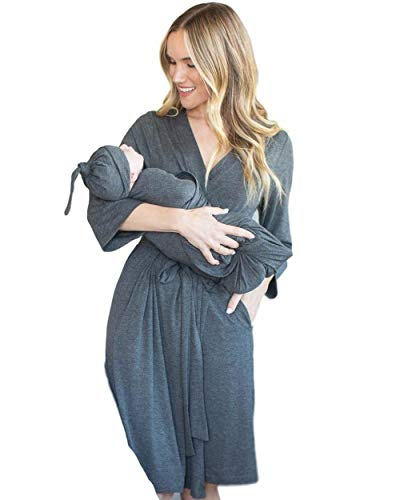 Baby Be Mine Maternity Labor Delivery Matching Robe and Swaddle Blanket and Hat Set, Hospital Bag Must Have (L/XL 10-20, Dark Heather -