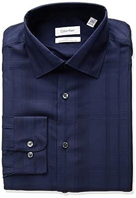 Calvin Klein Men's Non Iron Regular Fit Tonal Plaid Spread Collar Dress Shirt
