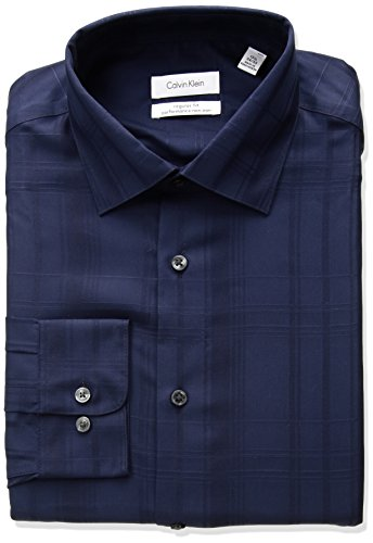 Tonal Plaid Shirt (Calvin Klein Men's Non Iron Regular Fit Tonal Plaid Spread Collar Dress Shirt, Night Blue, 18