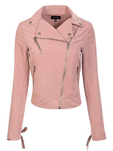Design by Olivia Women's Lightweight Faux Suede Lace-Up Sleeve Zip Up Moto Biker Jacket Dark Rose S