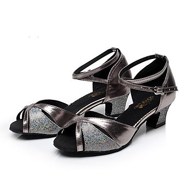 XIAMUO Nicht anpassbar - Die Frauen tanzen Schuhe Leder Leder Latin/Moderne Turnschuhe Ferse Praxis, Grau, uns 4-4,5/EU 34/ UK 2-2,5/CN33