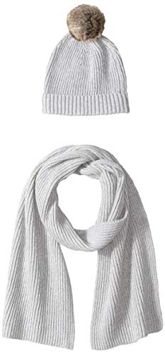 Amazon Essentials Women's Pom Knit Hat and Scarf Set, Light Grey Heather, One Size (Scarf Hat Set Thick Womens And)
