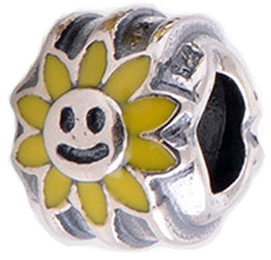 bf44a7b88 Sunflower Charm Bead 925 Sterling Silver Fits Pandora Charm Bracelet:  Amazon.co.uk: Jewellery