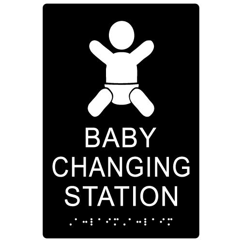 STOPSignsAndMore - ADA Compliant Baby Changing Station Restroom Sign - 6x9 (Black) by STOPSignsAndMore