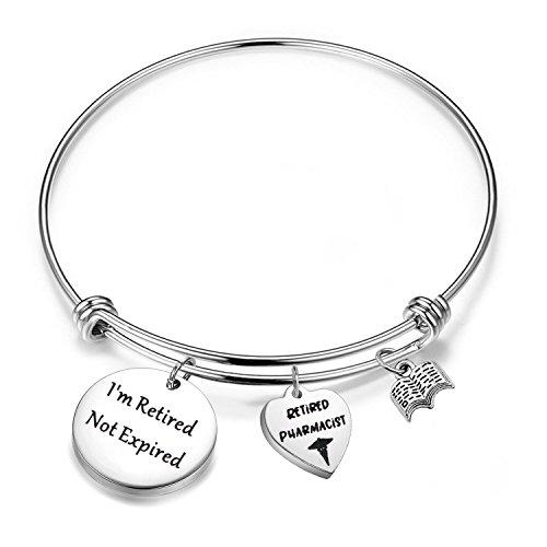FEELMEM Pharmacist Retirement Gifts Inspirational Retirement Bracelet with RX Symbol Charm Pharmacy Jewelry Retired Pharmacist Gifts (Silver)]()