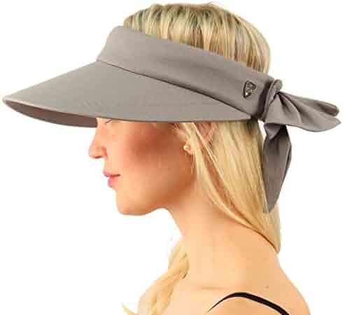 1058e5cc6e6ed SK Hat shop Sun Protection UPF UV Wide Big Brim Linen Cotton Beach Pool  Visor Cap